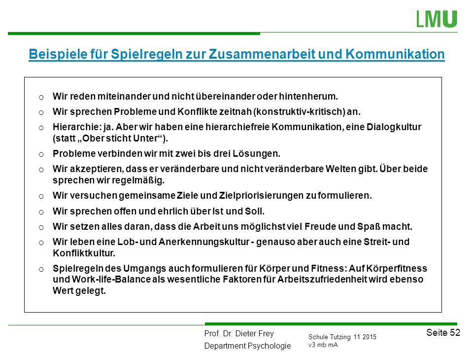 Prof. Dr. Dieter Frey Department Psychologie Seite 52 Schule Tutzing 11 2015 v3 mb mA Beispiele für Spielregeln zur Zusammenarbeit und Kommunikation o