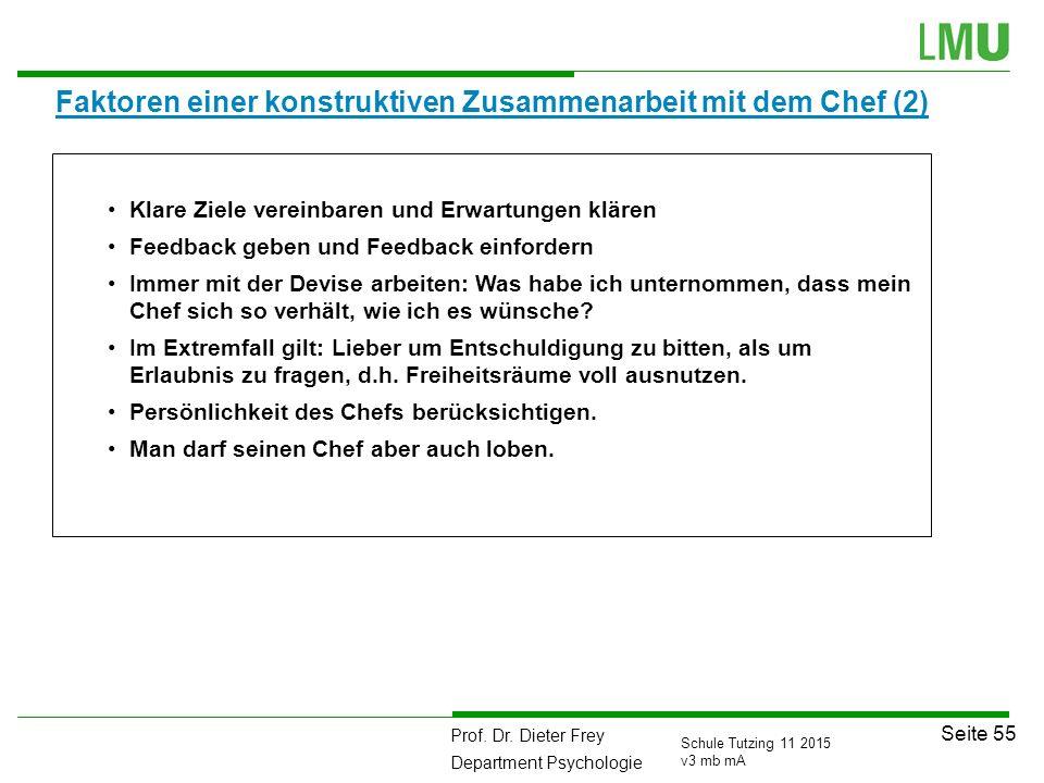 Prof. Dr. Dieter Frey Department Psychologie Seite 55 Schule Tutzing 11 2015 v3 mb mA Faktoren einer konstruktiven Zusammenarbeit mit dem Chef (2) Kla
