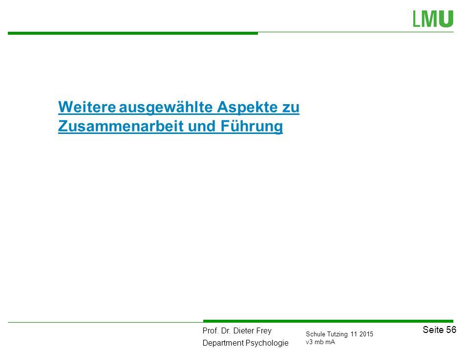 Prof. Dr. Dieter Frey Department Psychologie Seite 56 Schule Tutzing 11 2015 v3 mb mA Weitere ausgewählte Aspekte zu Zusammenarbeit und Führung