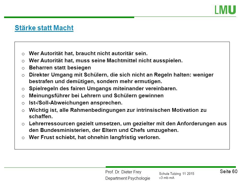 Prof. Dr. Dieter Frey Department Psychologie Seite 60 Schule Tutzing 11 2015 v3 mb mA Stärke statt Macht o Wer Autorität hat, braucht nicht autoritär