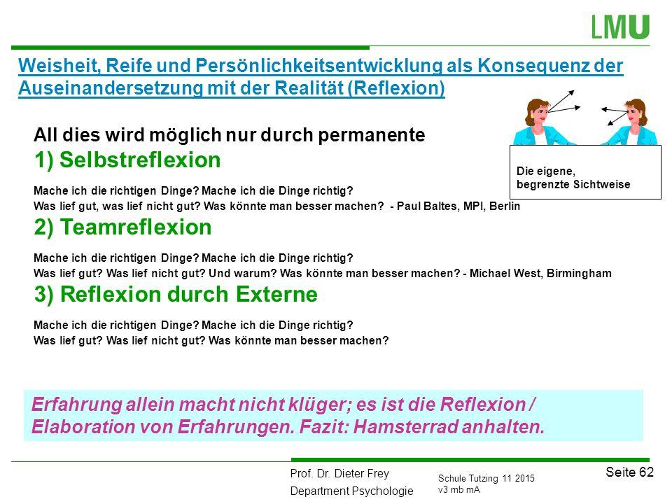 Prof. Dr. Dieter Frey Department Psychologie Seite 62 Schule Tutzing 11 2015 v3 mb mA Weisheit, Reife und Persönlichkeitsentwicklung als Konsequenz de