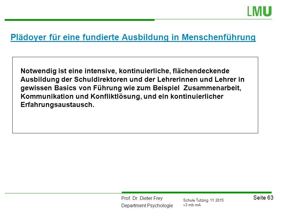 Prof. Dr. Dieter Frey Department Psychologie Seite 63 Schule Tutzing 11 2015 v3 mb mA Plädoyer für eine fundierte Ausbildung in Menschenführung Notwen
