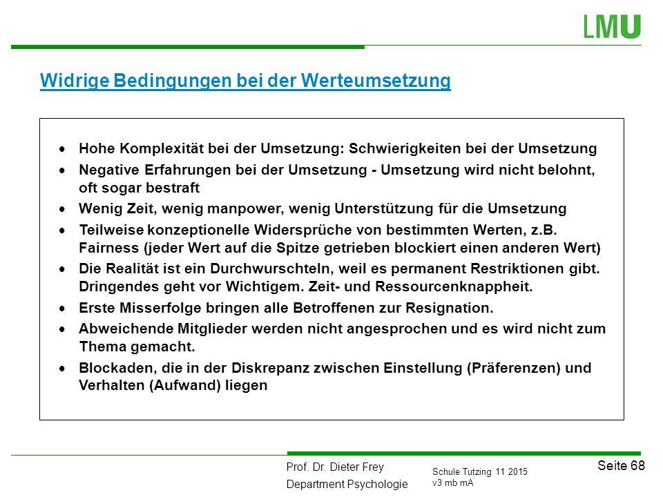 Prof. Dr. Dieter Frey Department Psychologie Seite 68 Schule Tutzing 11 2015 v3 mb mA Widrige Bedingungen bei der Werteumsetzung  Hohe Komplexität be