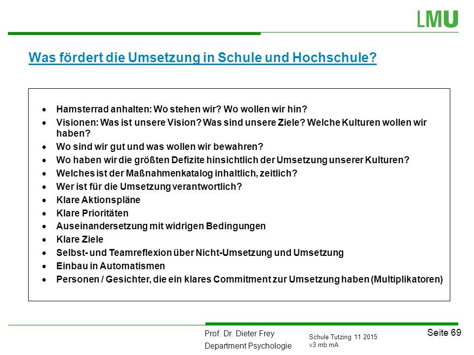 Prof. Dr. Dieter Frey Department Psychologie Seite 69 Schule Tutzing 11 2015 v3 mb mA Was fördert die Umsetzung in Schule und Hochschule?  Hamsterrad