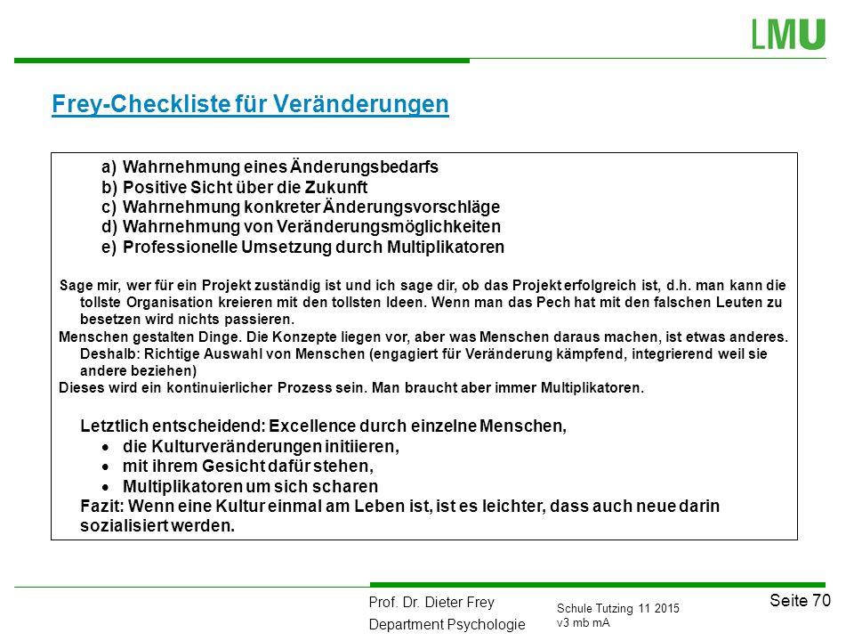 Prof. Dr. Dieter Frey Department Psychologie Seite 70 Schule Tutzing 11 2015 v3 mb mA Frey-Checkliste für Veränderungen a)Wahrnehmung eines Änderungsb