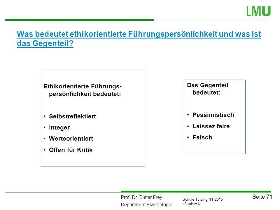 Prof. Dr. Dieter Frey Department Psychologie Seite 71 Schule Tutzing 11 2015 v3 mb mA Was bedeutet ethikorientierte Führungspersönlichkeit und was ist
