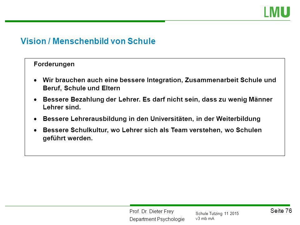 Prof. Dr. Dieter Frey Department Psychologie Seite 76 Schule Tutzing 11 2015 v3 mb mA Vision / Menschenbild von Schule Forderungen  Wir brauchen auch