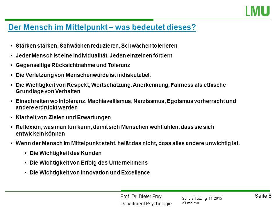 Prof. Dr. Dieter Frey Department Psychologie Seite 8 Schule Tutzing 11 2015 v3 mb mA Der Mensch im Mittelpunkt – was bedeutet dieses? Stärken stärken,