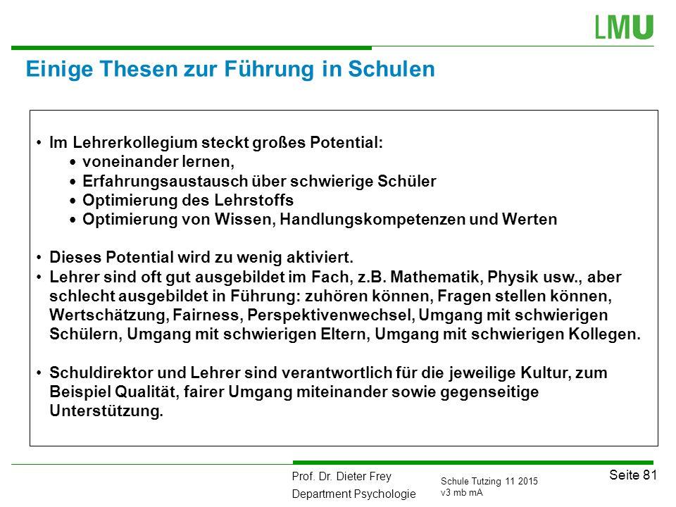 Prof. Dr. Dieter Frey Department Psychologie Seite 81 Schule Tutzing 11 2015 v3 mb mA Einige Thesen zur Führung in Schulen Im Lehrerkollegium steckt g