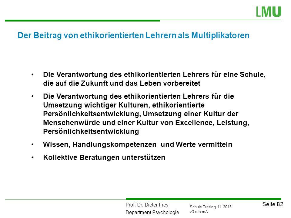 Prof. Dr. Dieter Frey Department Psychologie Seite 82 Schule Tutzing 11 2015 v3 mb mA Der Beitrag von ethikorientierten Lehrern als Multiplikatoren Di