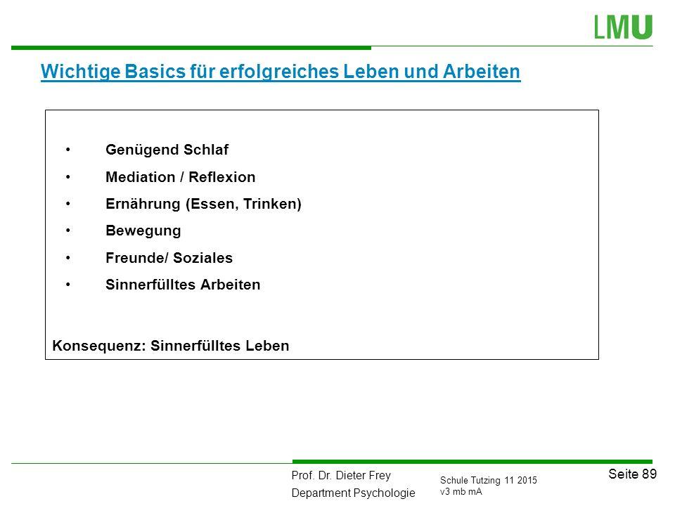 Prof. Dr. Dieter Frey Department Psychologie Seite 89 Schule Tutzing 11 2015 v3 mb mA Wichtige Basics für erfolgreiches Leben und Arbeiten Genügend Sc