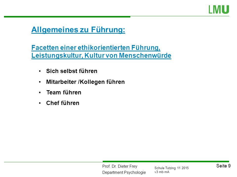 Prof. Dr. Dieter Frey Department Psychologie Seite 9 Schule Tutzing 11 2015 v3 mb mA Allgemeines zu Führung: Facetten einer ethikorientierten Führung,