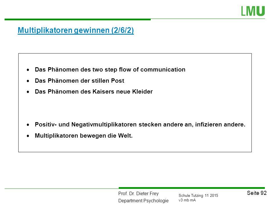 Prof. Dr. Dieter Frey Department Psychologie Seite 92 Schule Tutzing 11 2015 v3 mb mA Multiplikatoren gewinnen (2/6/2)  Das Phänomen des two step flo