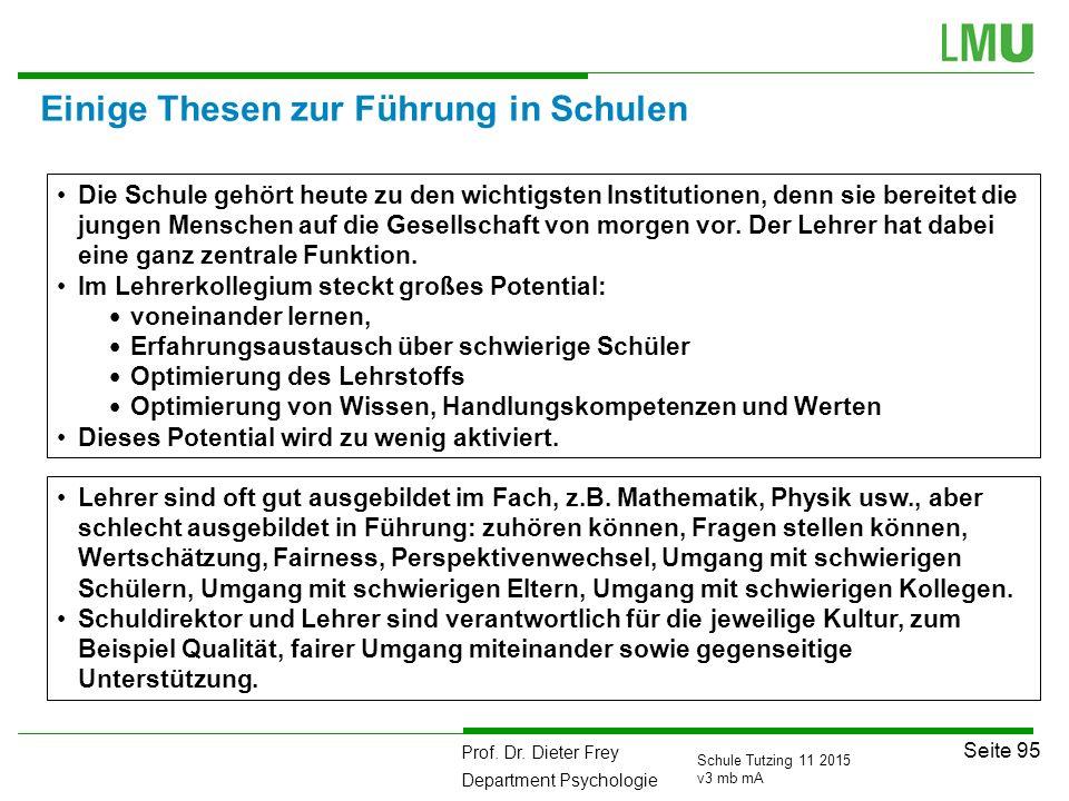 Prof. Dr. Dieter Frey Department Psychologie Seite 95 Schule Tutzing 11 2015 v3 mb mA Einige Thesen zur Führung in Schulen Die Schule gehört heute zu