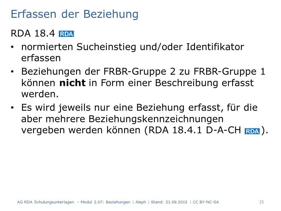 Erfassen der Beziehung RDA 18.4 normierten Sucheinstieg und/oder Identifikator erfassen Beziehungen der FRBR-Gruppe 2 zu FRBR-Gruppe 1 können nicht in Form einer Beschreibung erfasst werden.