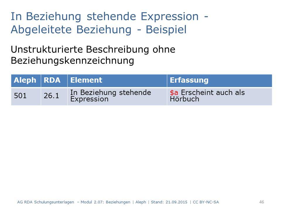 46 In Beziehung stehende Expression - Abgeleitete Beziehung - Beispiel AG RDA Schulungsunterlagen – Modul 2.07: Beziehungen | Aleph | Stand: 21.09.201