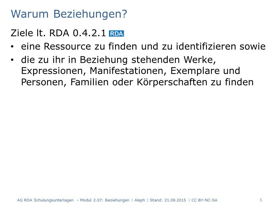 16 Zusammengesetzte Beschreibung - Beispiel AG RDA Schulungsunterlagen – Modul 2.07: Beziehungen | Aleph | Stand: 21.09.2015 | CC BY-NC-SA Teil 2 AlephFRBR- Ebene RDAElementErfassung 419 M2.8.2Erscheinungsort $a Berlin $b Insel Verlag $c 2013 M2.8.4Verlagsname M2.8.6Erscheinungsdatum 425a$a 2013 540aM2.15 Identifikator für die Manifestation $a 978-3-462- 04573-4 061M3.2Medientyp $b n (ohne Hilfsmittel zu benutzen) 062M3.3Datenträgertyp$b nc (Band) 433M3.4Umfang$a 186 Seiten