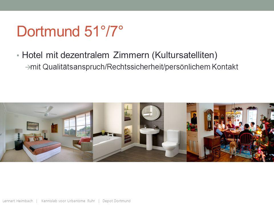Dortmund 51°/7° Hotel mit dezentralem Zimmern (Kultursatelliten)  mit Qualitätsanspruch/Rechtssicherheit/persönlichem Kontakt Lennart Heimbach | Kennislab voor Urbanisme Ruhr | Depot Dortmund
