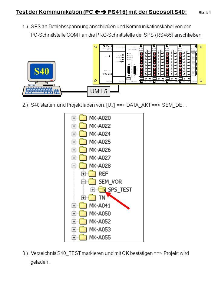 Test der Kommunikation (PC  PS416) mit der Sucosoft S40: Blatt: 1 UM1.5 1.) SPS an Betriebsspannung anschließen und Kommunikationskabel von der PC-S