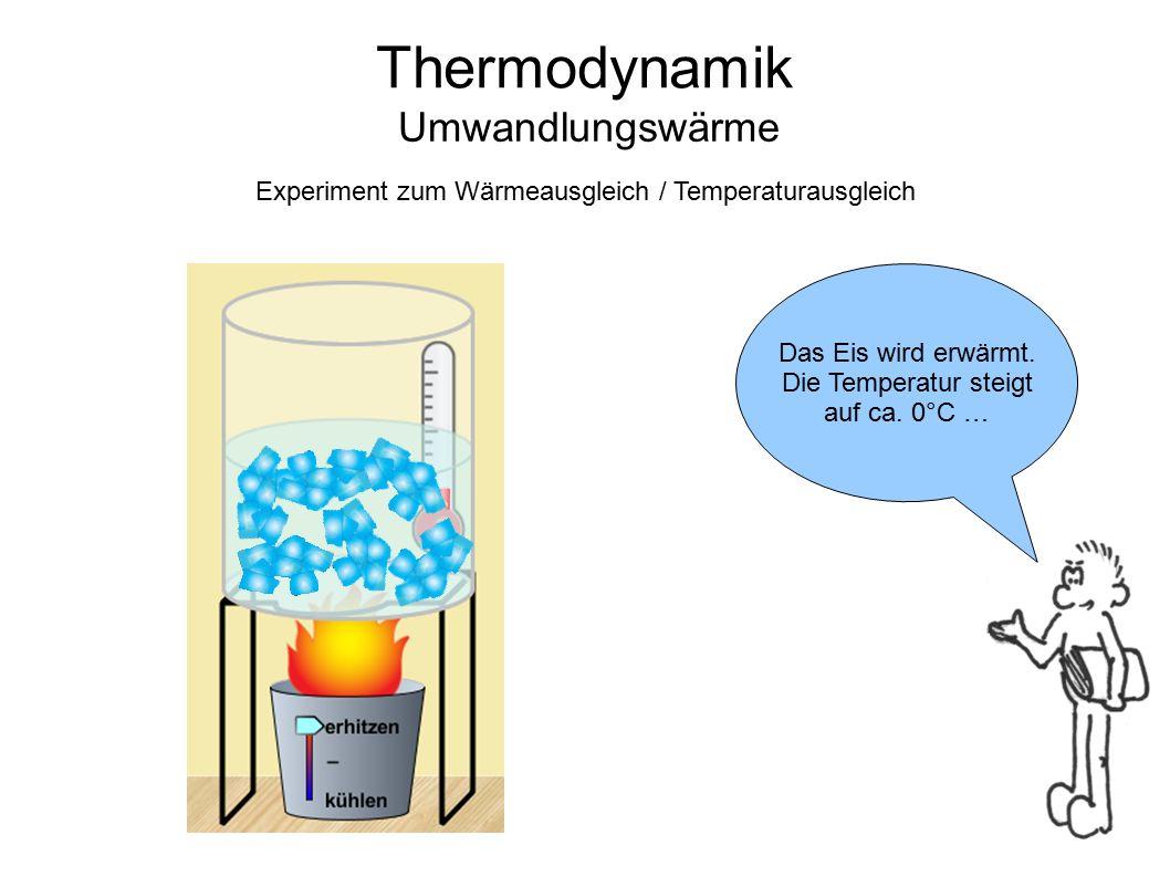 Thermodynamik Umwandlungswärme Nun schmilzt das Eis ohne dass sich die Temperatur ändert.