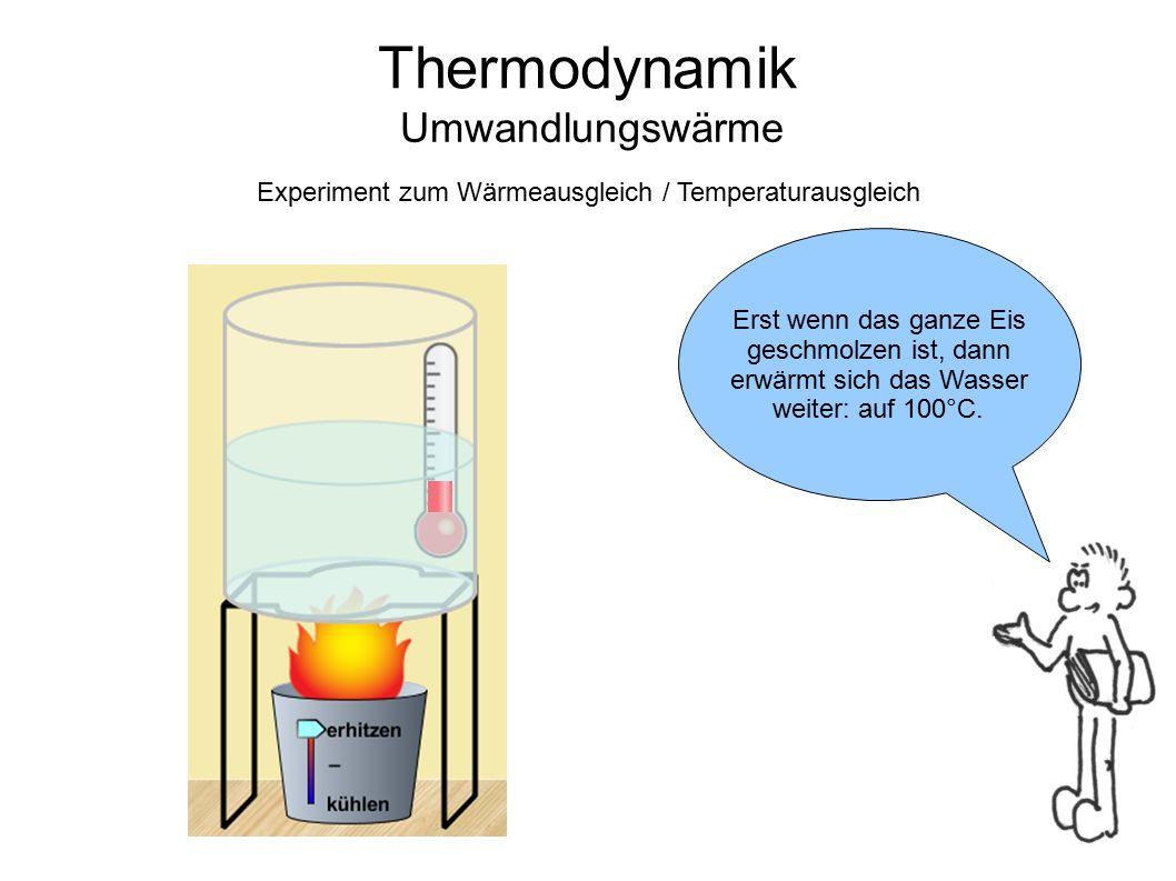Thermodynamik Umwandlungswärme Nun beginnt das Wasser zu Sieden.