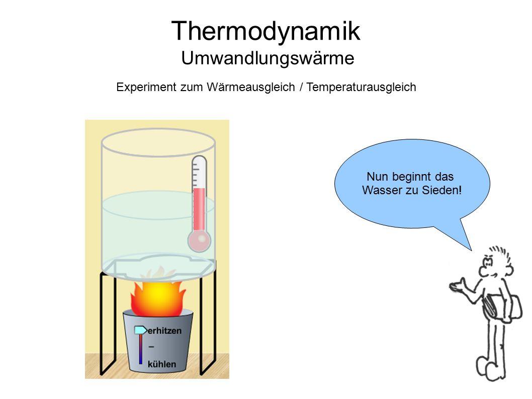 Thermodynamik Umwandlungswärme Die Temperatur bleibt konstant auf ca.