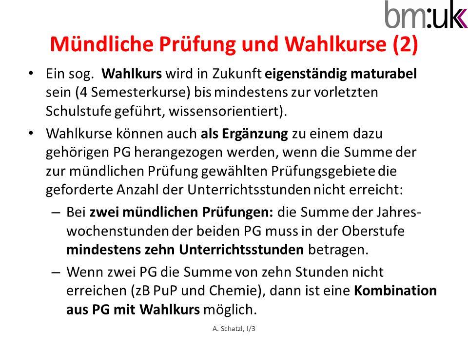Mündliche Prüfung und Wahlkurse (2) Ein sog.
