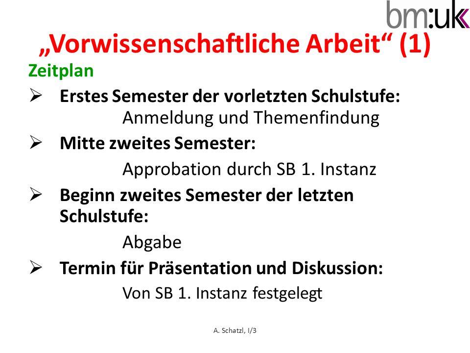 """""""Vorwissenschaftliche Arbeit"""" (1) Zeitplan  Erstes Semester der vorletzten Schulstufe: Anmeldung und Themenfindung  Mitte zweites Semester: Approbat"""