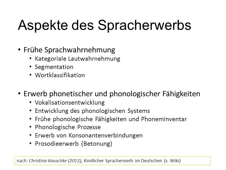 Aspekte des Spracherwerbs Frühe Sprachwahrnehmung Kategoriale Lautwahrnehmung Segmentation Wortklassifikation Erwerb phonetischer und phonologischer F