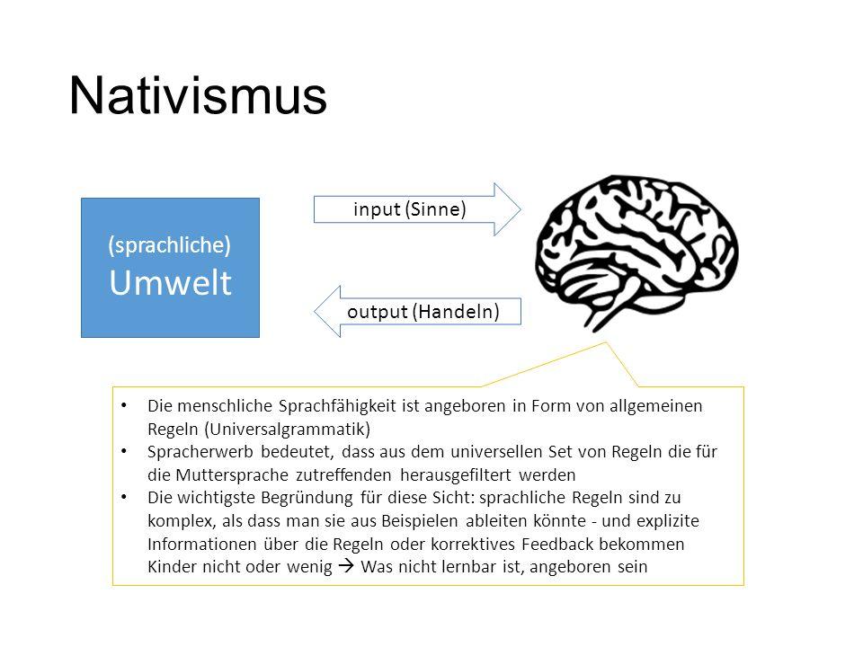 Nativismus (sprachliche) Umwelt input (Sinne) output (Handeln) Die menschliche Sprachfähigkeit ist angeboren in Form von allgemeinen Regeln (Universal