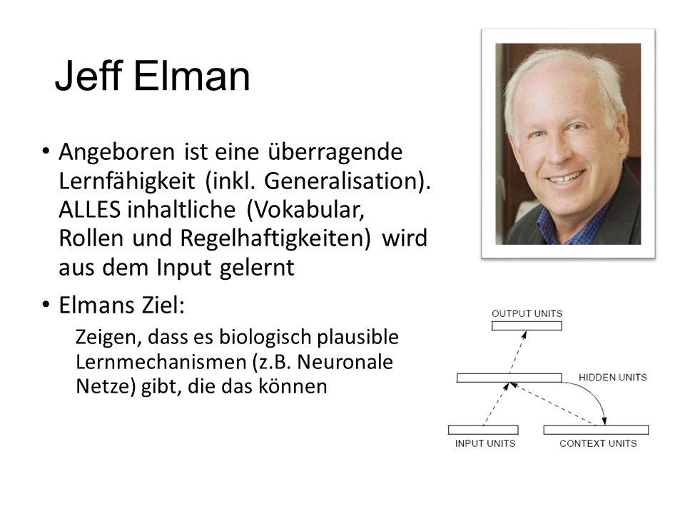 Jeff Elman Angeboren ist eine überragende Lernfähigkeit (inkl. Generalisation). ALLES inhaltliche (Vokabular, Rollen und Regelhaftigkeiten) wird aus d