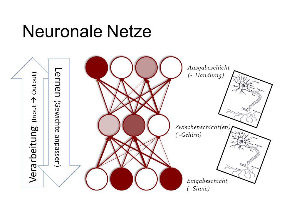 Neuronale Netze Eingabeschicht (~Sinne) Ausgabeschicht (~ Handlung) Zwischenschicht(en) (~Gehirn) Verarbeitung (Input  Output) Lernen (Gewichte anpas