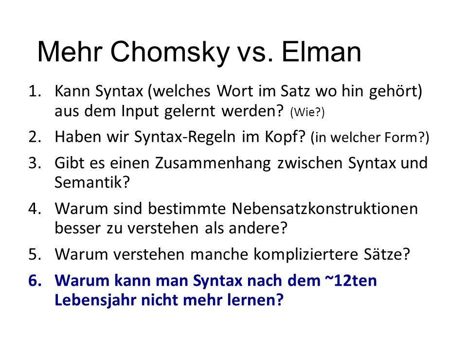 Mehr Chomsky vs. Elman 1.Kann Syntax (welches Wort im Satz wo hin gehört) aus dem Input gelernt werden? (Wie?) 2.Haben wir Syntax-Regeln im Kopf? (in