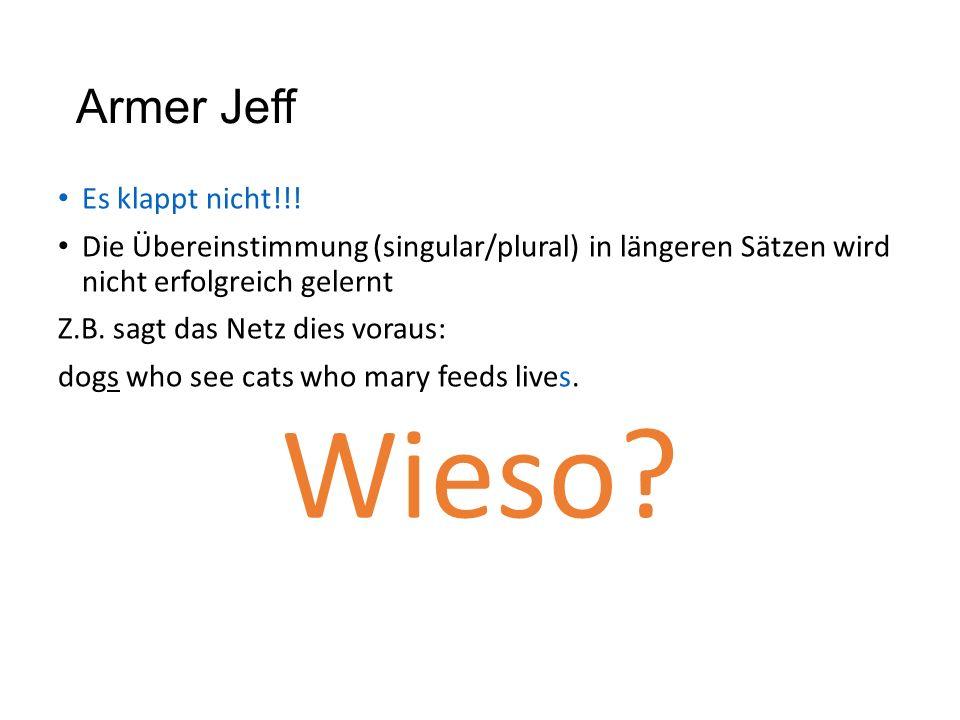 Armer Jeff Es klappt nicht!!! Die Übereinstimmung (singular/plural) in längeren Sätzen wird nicht erfolgreich gelernt Z.B. sagt das Netz dies voraus: