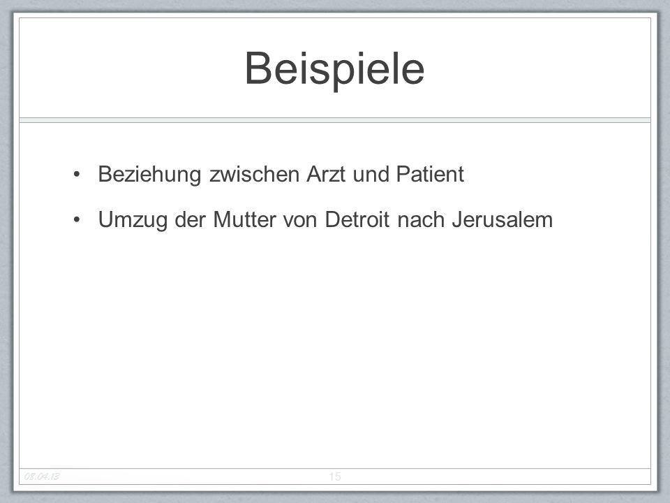 Beispiele Beziehung zwischen Arzt und Patient Umzug der Mutter von Detroit nach Jerusalem 15 08.04.13