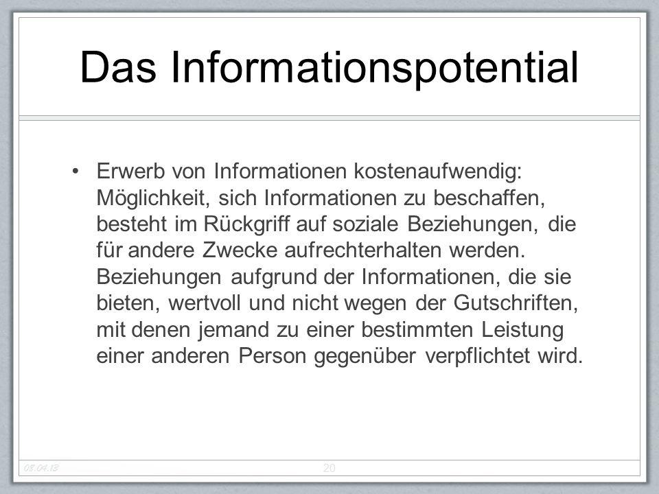 Das Informationspotential Erwerb von Informationen kostenaufwendig: Möglichkeit, sich Informationen zu beschaffen, besteht im Rückgriff auf soziale Be
