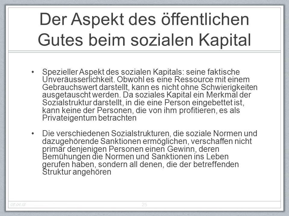 Der Aspekt des öffentlichen Gutes beim sozialen Kapital Spezieller Aspekt des sozialen Kapitals: seine faktische Unveräusserlichkeit.