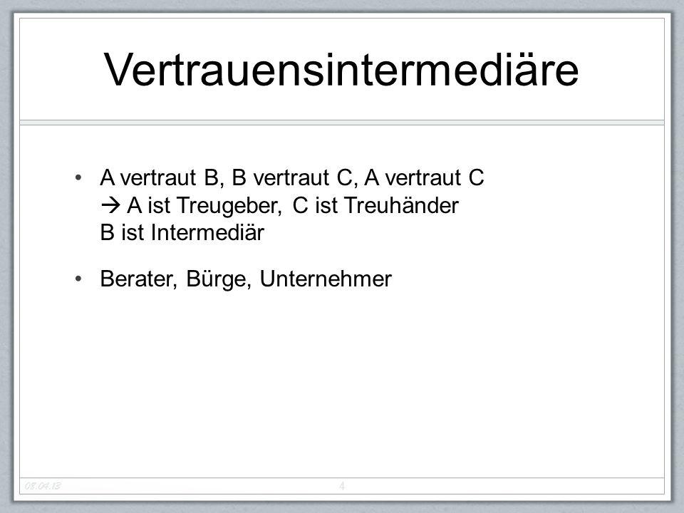 Vertrauensintermediäre A vertraut B, B vertraut C, A vertraut C  A ist Treugeber, C ist Treuhänder B ist Intermediär Berater, Bürge, Unternehmer 4 08.04.13