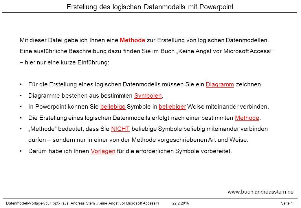 """Datenmodell-Vorlage-v501.pptx (aus: Andreas Stern """"Keine Angst vor Microsoft Access!"""")22.2.2016Seite 1 Erstellung des logischen Datenmodells mit Power"""