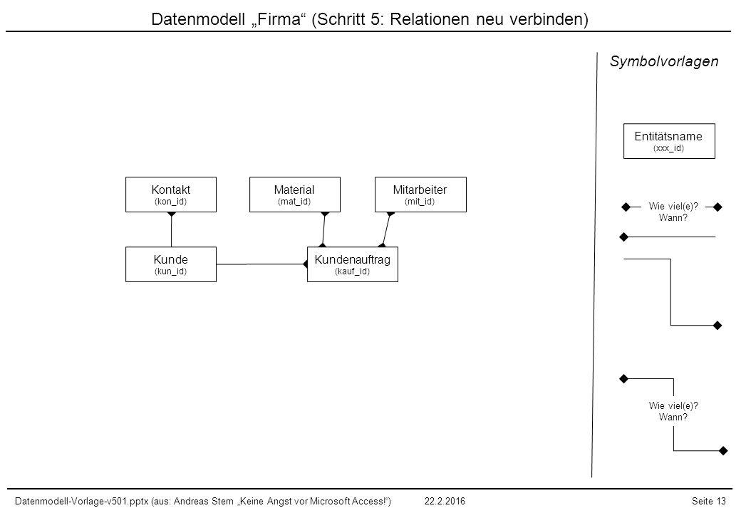 """Datenmodell-Vorlage-v501.pptx (aus: Andreas Stern """"Keine Angst vor Microsoft Access!"""")22.2.2016Seite 13 Datenmodell """"Firma"""" (Schritt 5: Relationen neu"""