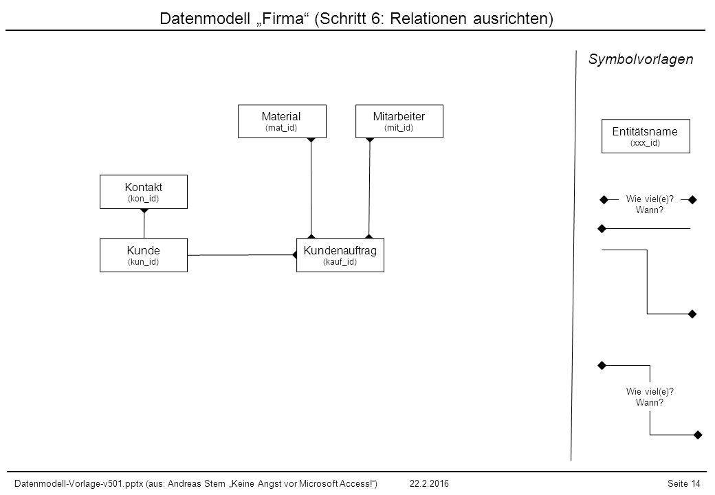 """Datenmodell-Vorlage-v501.pptx (aus: Andreas Stern """"Keine Angst vor Microsoft Access!"""")22.2.2016Seite 14 Datenmodell """"Firma"""" (Schritt 6: Relationen aus"""