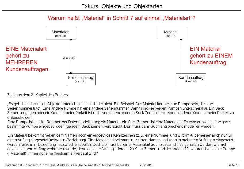 """Datenmodell-Vorlage-v501.pptx (aus: Andreas Stern """"Keine Angst vor Microsoft Access!"""")22.2.2016Seite 16 Materialart (mat_id) Kundenauftrag (kauf_id) W"""