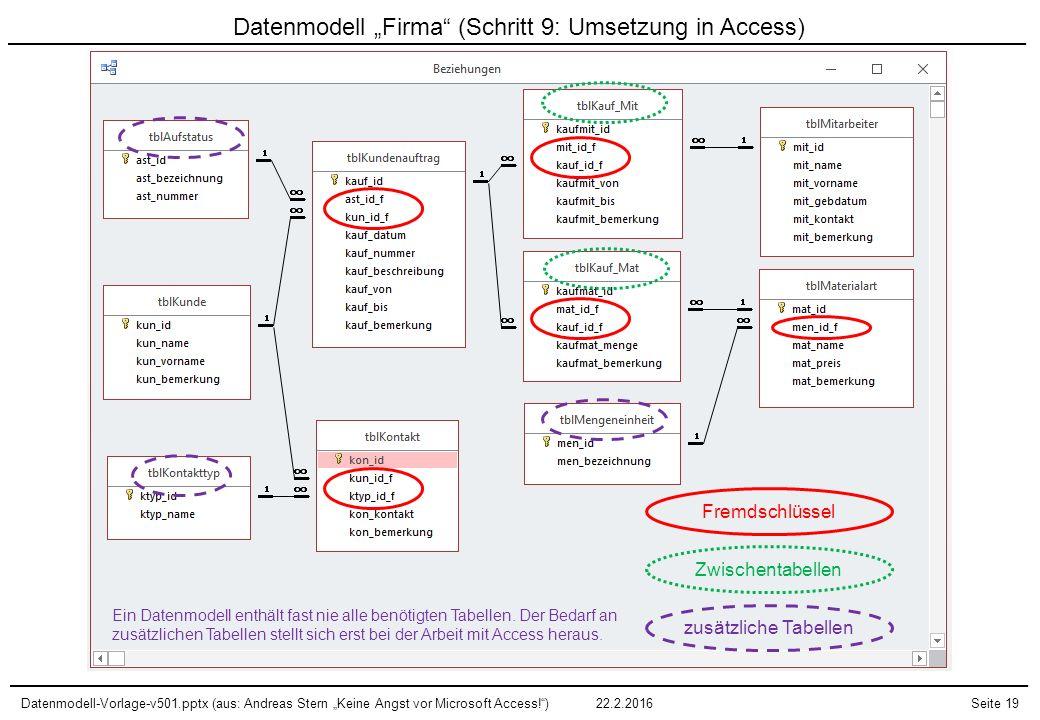 """Datenmodell-Vorlage-v501.pptx (aus: Andreas Stern """"Keine Angst vor Microsoft Access!"""")22.2.2016Seite 19 Datenmodell """"Firma"""" (Schritt 9: Umsetzung in A"""