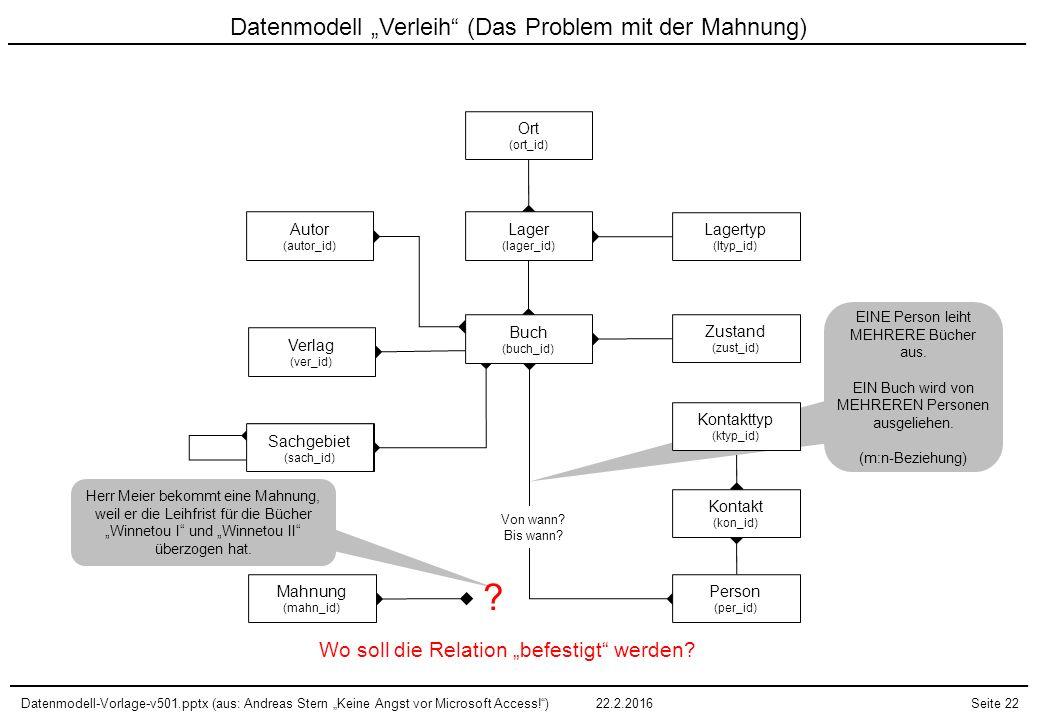 """Datenmodell-Vorlage-v501.pptx (aus: Andreas Stern """"Keine Angst vor Microsoft Access!"""")22.2.2016Seite 22 Sachgebiet (sach_id) Datenmodell """"Verleih"""" (Da"""