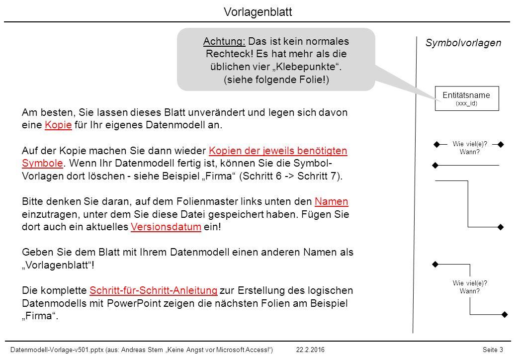 """Datenmodell-Vorlage-v501.pptx (aus: Andreas Stern """"Keine Angst vor Microsoft Access! )22.2.2016Seite 14 Datenmodell """"Firma (Schritt 6: Relationen ausrichten) Mitarbeiter (mit_id) Material (mat_id) Kunde (kun_id) Kontakt (kon_id) Kundenauftrag (kauf_id) Wie viel(e)."""