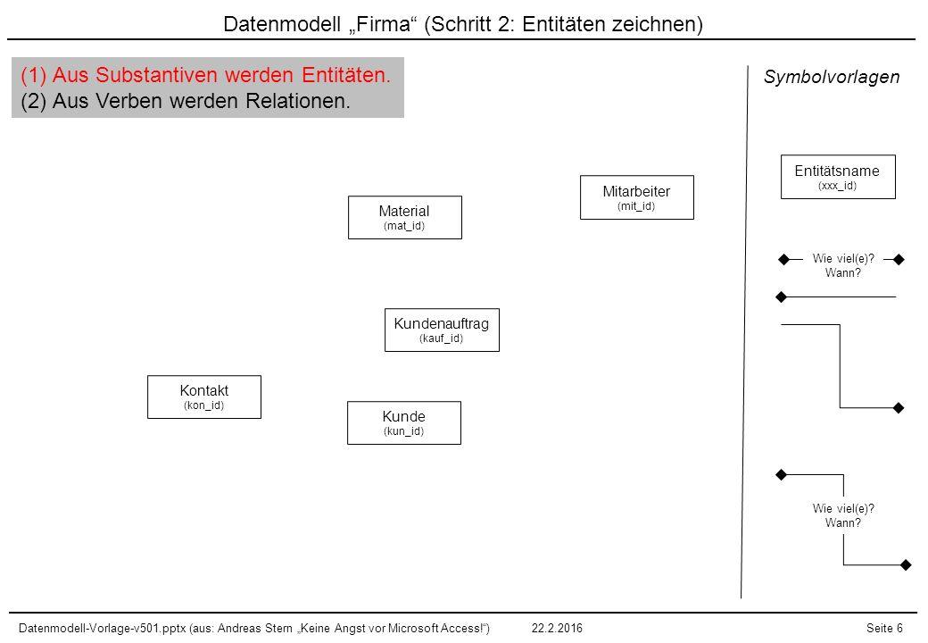 """Datenmodell-Vorlage-v501.pptx (aus: Andreas Stern """"Keine Angst vor Microsoft Access! )22.2.2016Seite 7 Datenmodell """"Firma (Schritt 3: Relationen zeichnen) EIN Auftrag erfordert MEHRERE Materialien."""