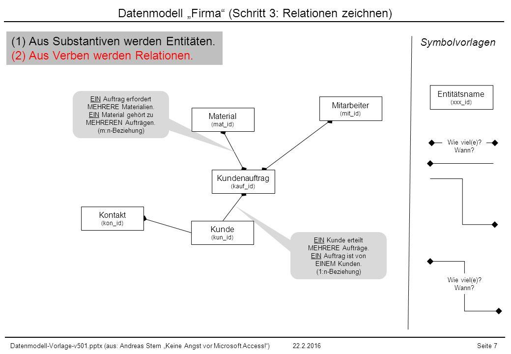 """Datenmodell-Vorlage-v501.pptx (aus: Andreas Stern """"Keine Angst vor Microsoft Access! )22.2.2016Seite 8 Exkurs: 1:n-Relationen """"lesen Kundenauftrag (kauf_id) Kunde (kun_id) (1) EIN Kunde … (Entität) (3) … MEHRERE … (Kardinalität) (2) … erteilt … (Relation) (4) … Kundenaufträge."""