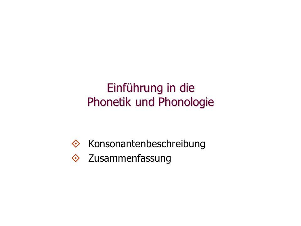 Einführung in die Phonetik und Phonologie   Konsonantenbeschreibung   Zusammenfassung
