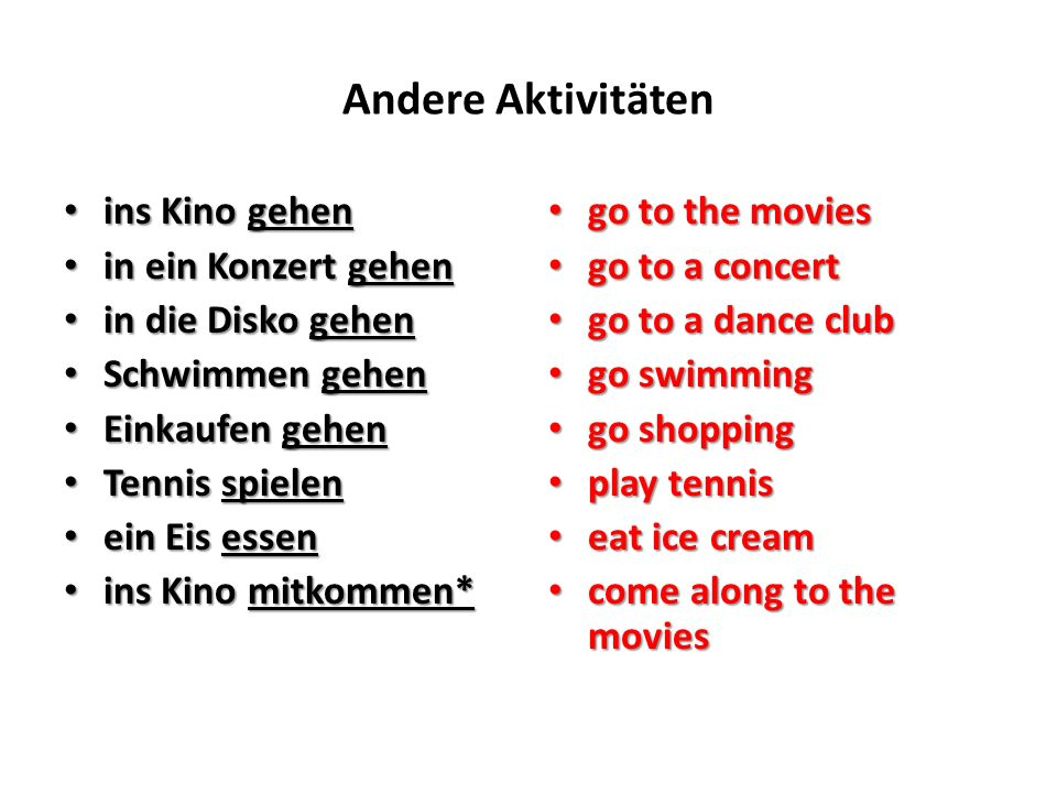 Andere Aktivitäten das Kino das Kino das Konzert das Konzert die Disko die Disko der Tennis der Tennis the movie theater the movie theater the concert the concert the dance club the dance club tennis tennis