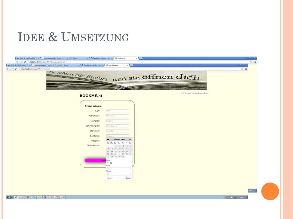 """A RTUR Implementierung Login, Registrieren Artikel anlegen Automatischer Statuswechsel Die Links """"Käufe , """"Verkäufe , """"Gebote Gebotsverlauf Statistik JSP – Artikelkauf Fehlermeldungen Dokumentation Anforderungsanalyse - Funktionale Anforderungen, Funktionalität, Bedienungsoberfläche, Qualitätsanforderungen, Diverses(Risikopunkte) Design 2 – Klassendiagramm, Klassendesign Diagramme Klassendiagramm Effektiver Arbeitsaufwand: ~55 Stunden"""
